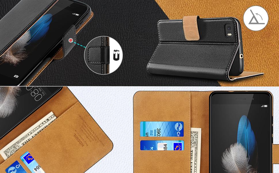 Huawei P8 Lite Case,Premium Leather Flip Wallet Phone Case Cover (Black)-2