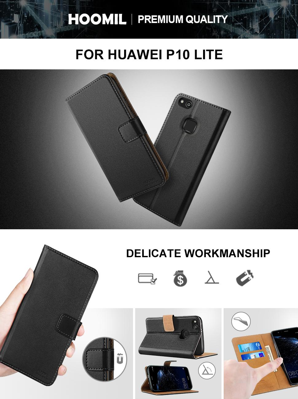 Huawei P10 Lite Case,Premium Leather Flip Wallet Phone Case Cover (Black)