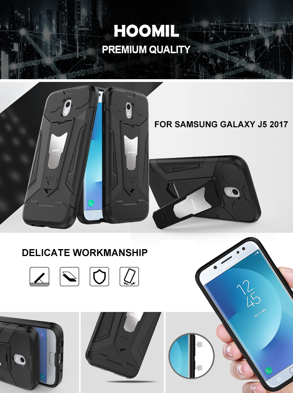 Samsung Galaxy J5 2017 Hybrid Dual Layer Shockproof Hard Cover