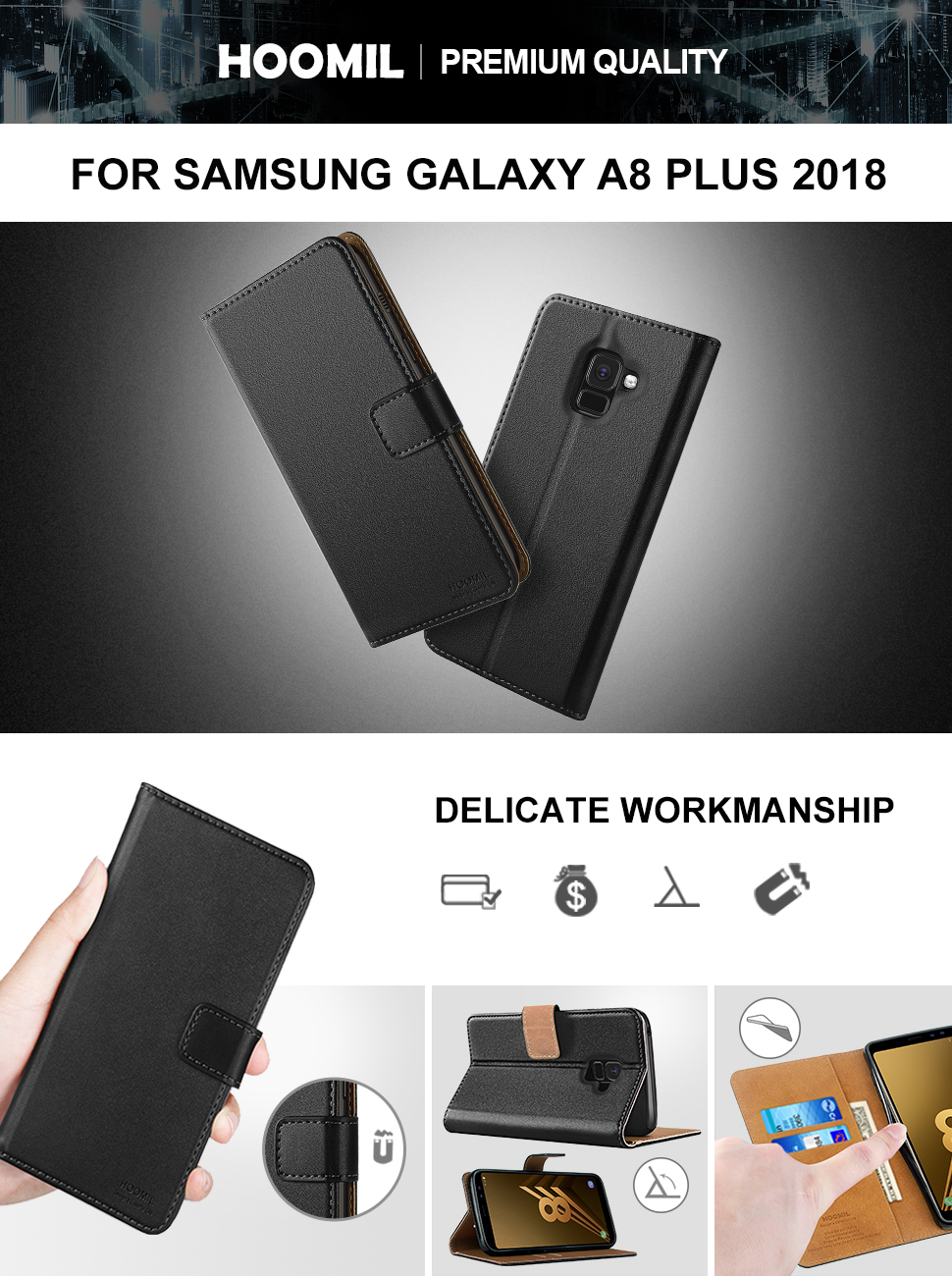 Samsung Galaxy A8 Plus 2018 Premium Leather Flip Wallet Phone Case Cover (Black)