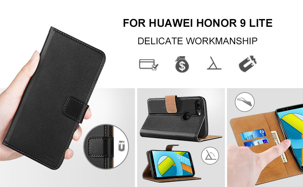 Huawei Honor P9 Lite Case,High Quality Wallet Business Phone Case Cover (Black)-2
