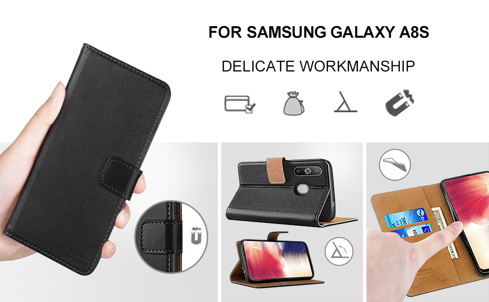 Samsung Galaxy A8S Premium Leather Flip Wallet Phone Case Cover (Black)-2