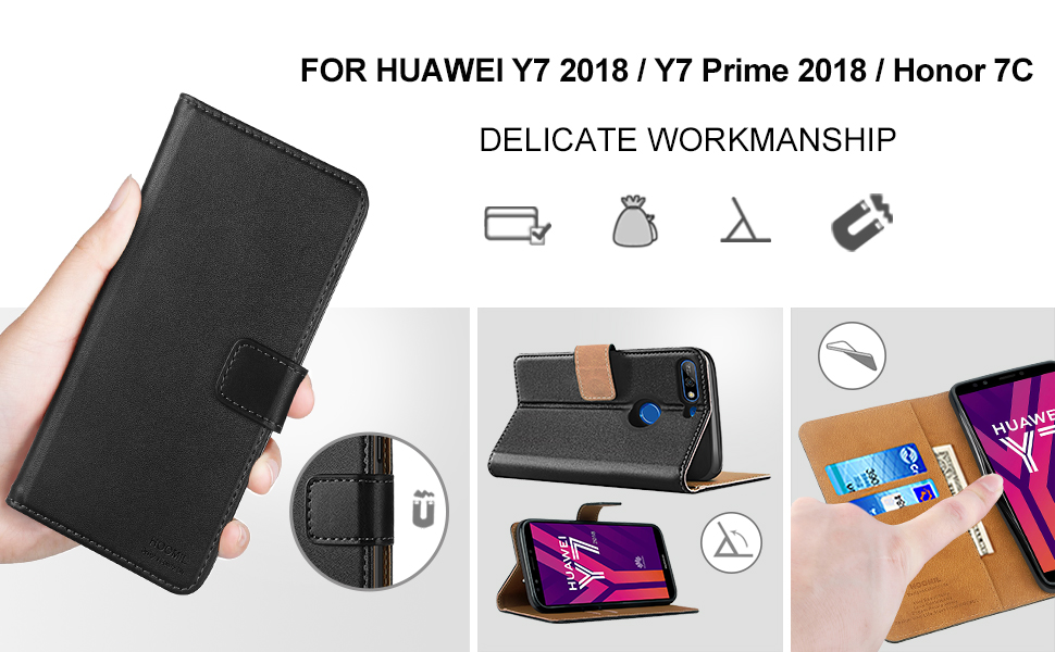 Huawei Y7 2018 Case Cover-Premium Leather Flip Wallet Phone Case Cover-2