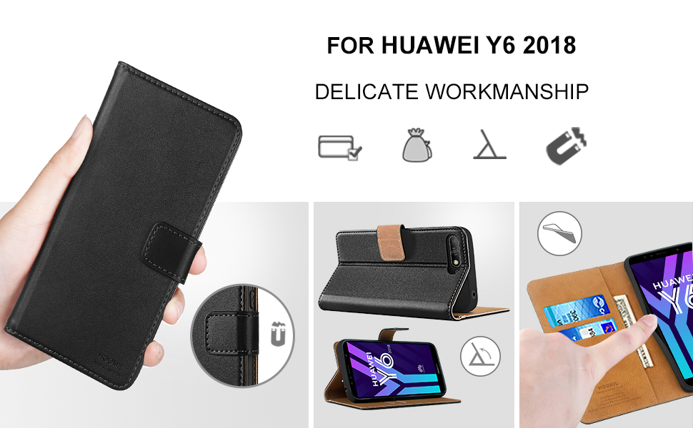 Huawei Y6 2018 Case Cover-Premium Leather Flip Wallet Phone Case Cover-2