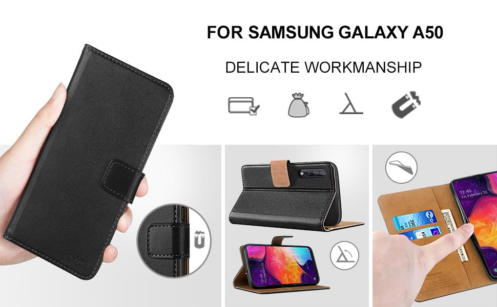 Samsung Galaxy A50 Premium Leather Flip Wallet Phone Case Cover(Black)-2