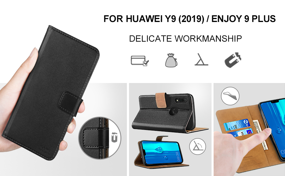 Huawei Y9 2019 Case Cover-Premium Leather Flip Wallet Phone Case Cover-2