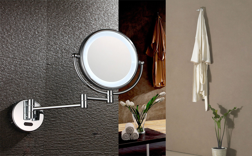 Aechoo Wall Mounted Mirrors Makeup Shaving Mirror Led