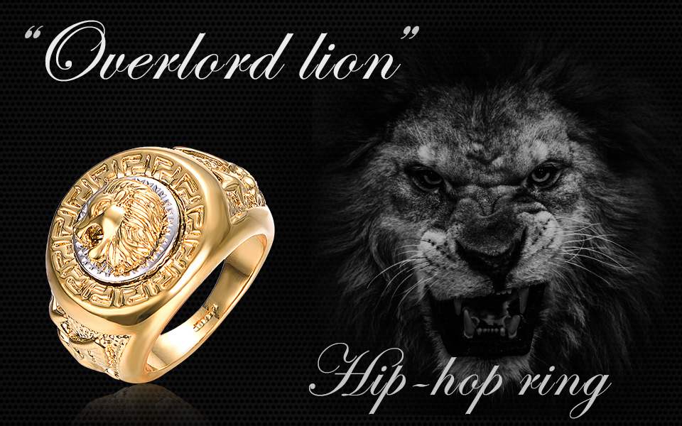 rings animal tone huge head mas gold silver fashion biker king stainless men steel of s item face punk leo x jewelry ring in gift from lion