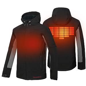 92121edeb0800 CONQUECO Men s Heated Jacket Waterproof Windproof Softshell Hoodie ...
