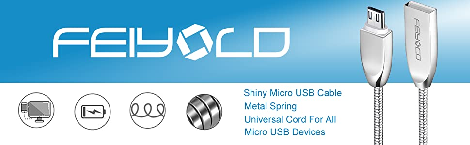 Metal micro usb cable is universal cord for all micro usb devices