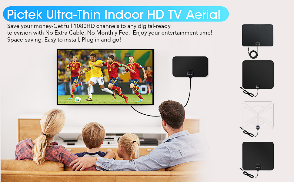 TV Aerial - Pictek Indoor TV Aerial Ultra-Thin: Amazon.co ...