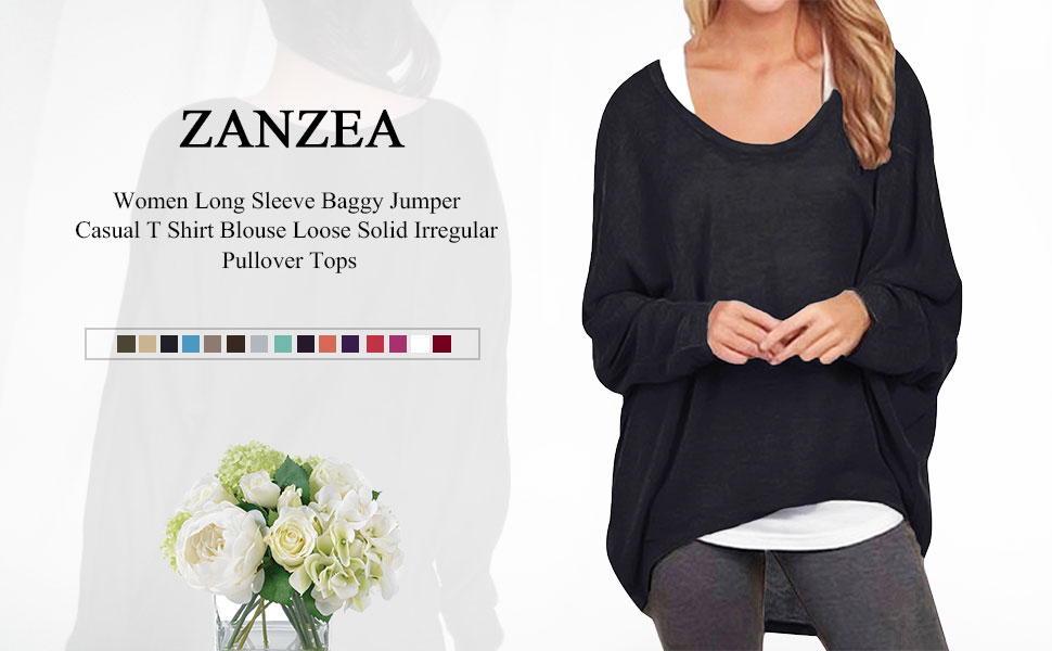 92abb2ac431 ZANZEA Women Long Sleeve Baggy Jumper Casual T Shirt Blouse Loose Irregular  Pullover Tops