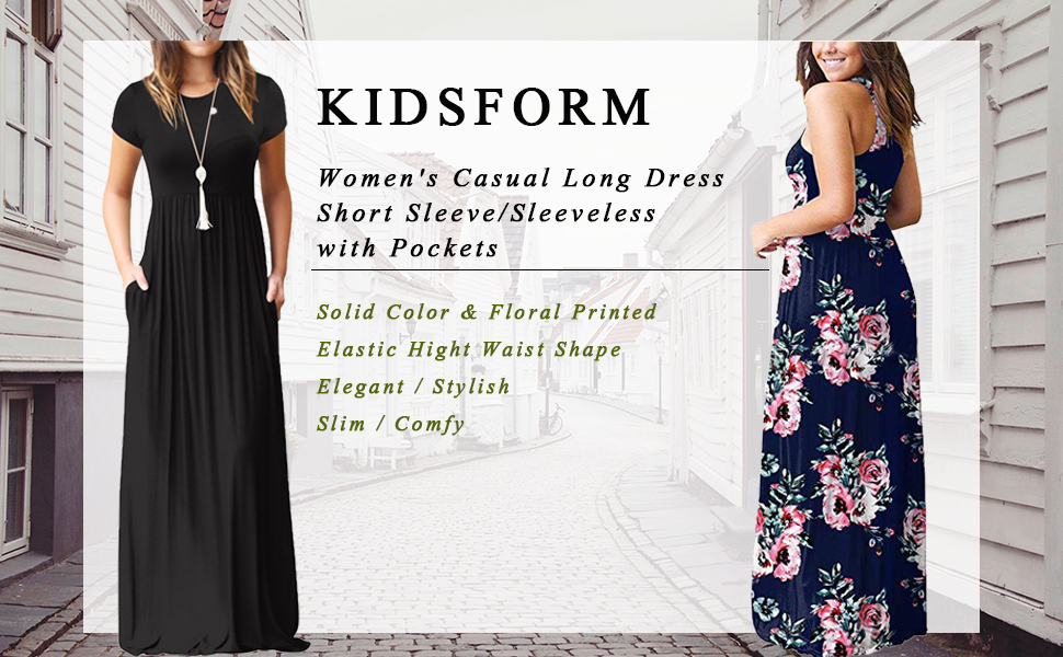 2bd82595be Kidsform Women's Short Sleeve Loose Plain Maxi Dresses Casual Long Dresses  with Pockets