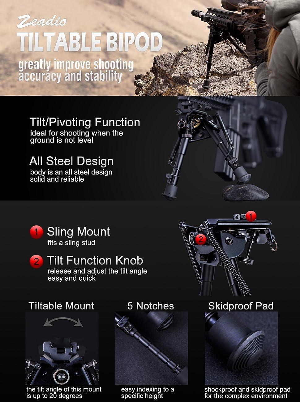 6-9 Zeadio Carbon Fiber Swivel Pivot Tiltable Bipod with Sling Mount