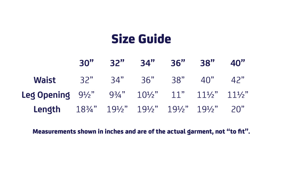 Chino Shorts Size Guide
