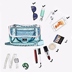 9ac8f03d55 Abuyall Clear Beach Bag Pvc Lattice Messenger Chain Fashion Jelly ...