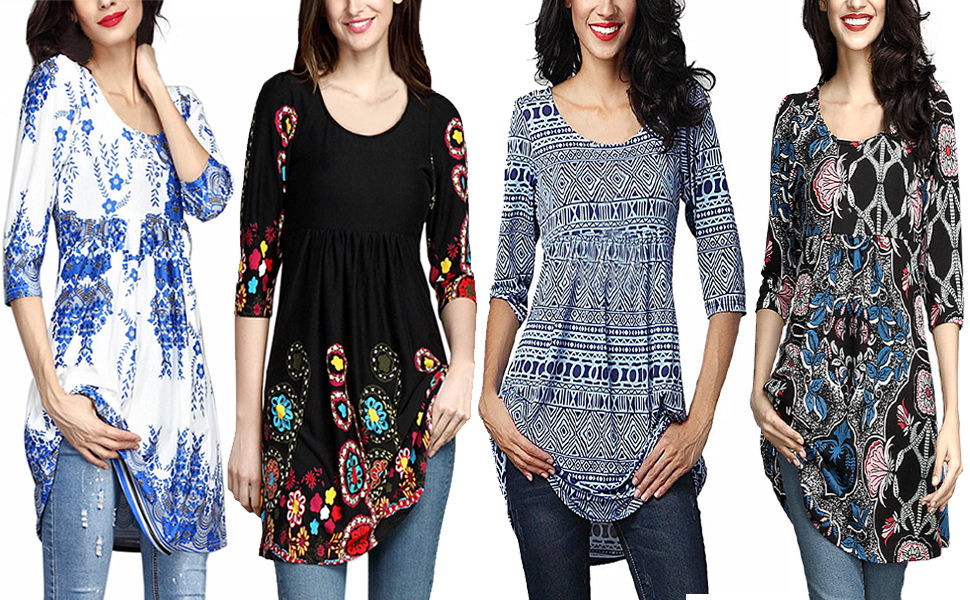 6272a27fcc54 FIYOTE Womens Casual Floral Printed 3 4 Sleeve Tunic Loose Long Tops Blouse