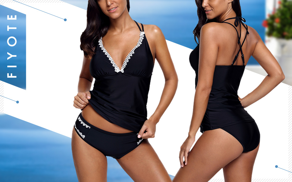 cf9692f58d FIYOTE Womens Lace Detail V Neck Halter Swimsuits Two Pieces Tankini Top  Bikini Bottoms Swimwear