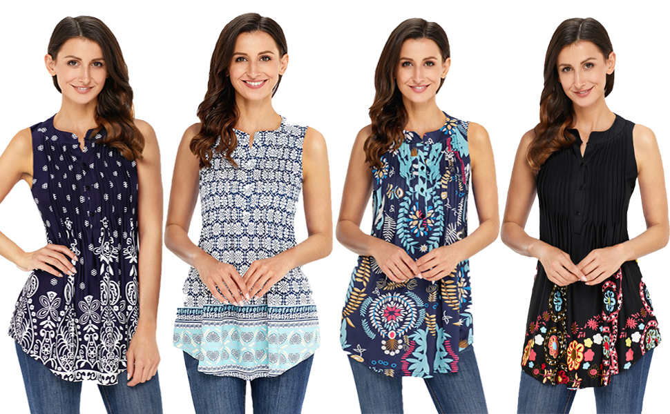 3d637943cfb FIYOTE Womens Sleeveless V Neck Floral Summer Tunics Tops Blouses ...