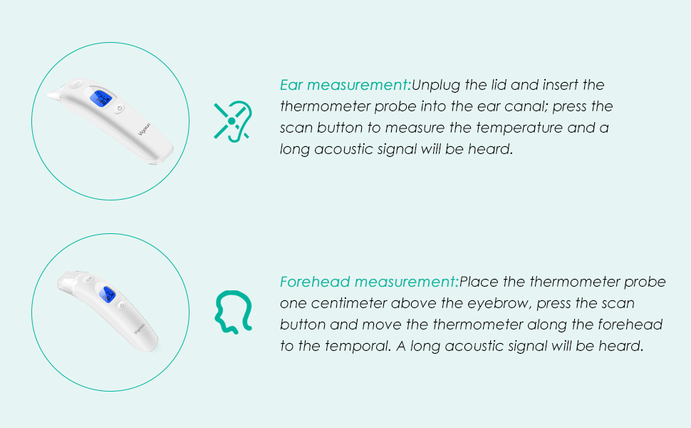 Forehead And Ear Medical Infrared Thermometer Vigorun Professional