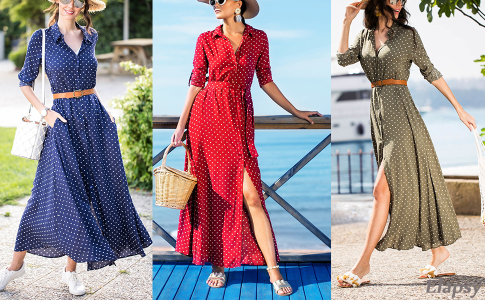 New Arrival Polka Dot Tied Waist Maxi Dress Long Shirt Dresses S-XL