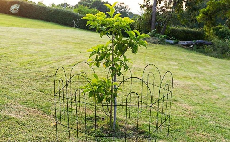 Amagabeli 46CM X 43CM X 35PCS Valla Jardín de Hierro Valla Decorativa Metalicas para Jardín Metal Verde FC01: Amazon.es: Jardín