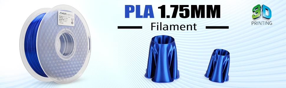AMOLEN 3D Printer Filament, Sapphire Blue Silk PLA Filament 1 75mm +/- 0 03  mm, 2 2LBS(1KG), includes Sample Silvery Grey Filament