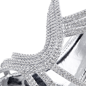 0c5c224972eff Rhinestones Strappy. 4-prong setting rhinestone  Unique heel with manmade  diamond  These are classic wedding sandals ...