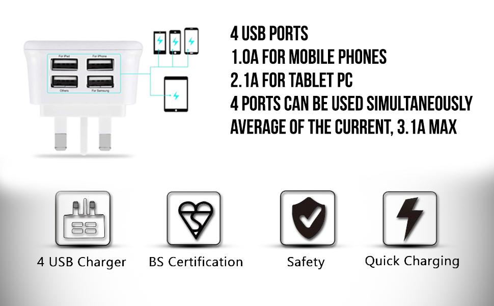 fone stuff 4 port usb uk mains charger 3 pin plug amazon co uk rh amazon co uk