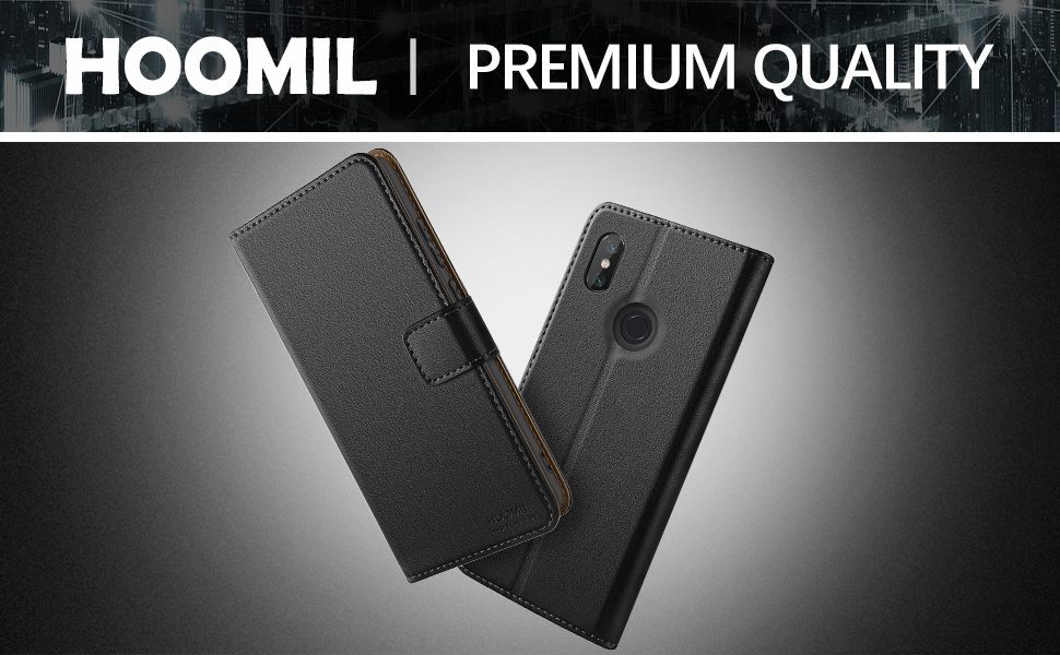 HOOMIL Case Compatible with Xiaomi Redmi Note 6 Pro, Premium PU Leather Flip Wallet Phone Case for Xiaomi Redmi Note 6 Pro Cover (Black)