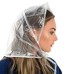 Rain Bonnets Clear Plastic Waterproof with Tie - Pack of 3  Amazon ... 01e7301e820
