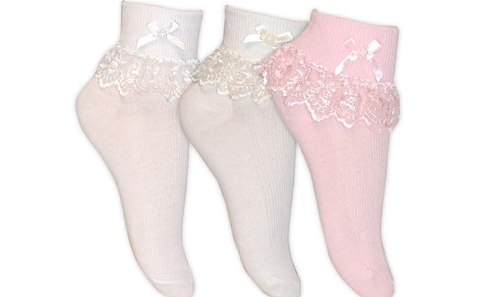 1 Pair Frilly lace lt pink big bow baby//child/'s ankle socks,Communion party