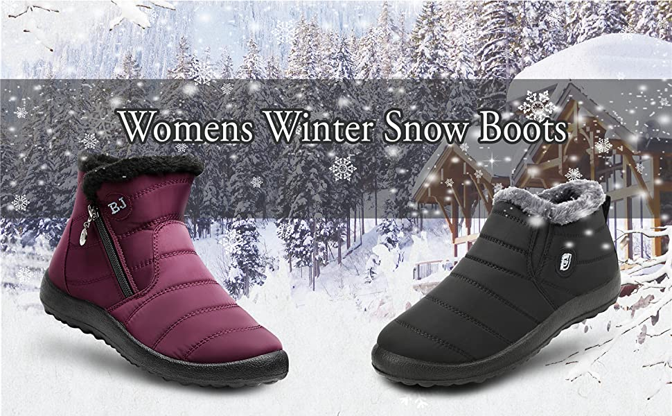 798242a739f5 JOINFREE Women s Winter Snow Flat Ankle Boots Womens Mid-Calf Zip  Waterproof Outdoor Warm Bootie