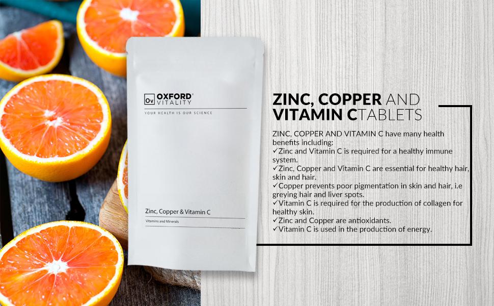 Zinc, Copper & Vitamin C Tablets | General Health & Hair ...