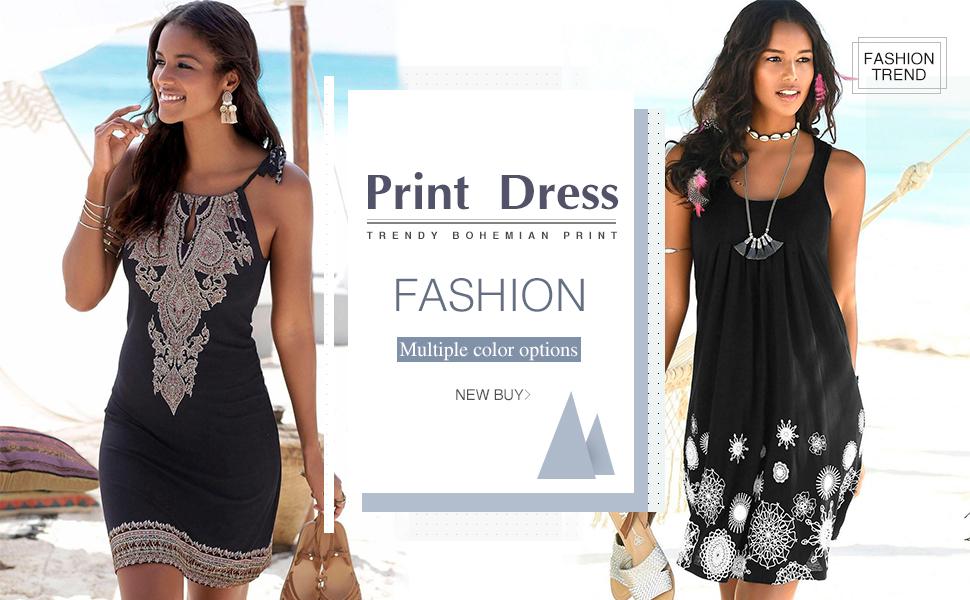 747038309ca7 ASVIVID Fashion Classic Print Halter Neck Boho Style Sleeveless Beach Dress  for Women!!!