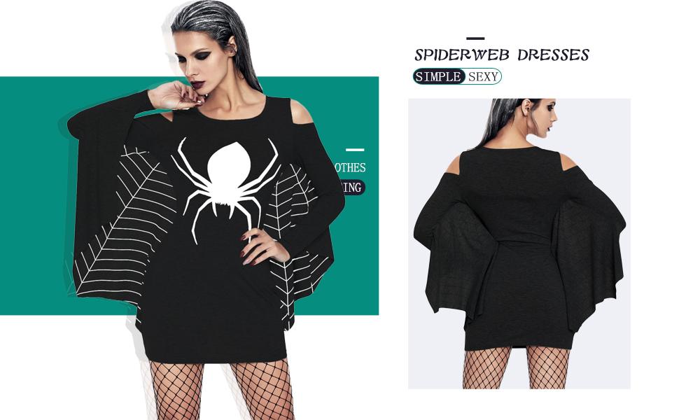 Shelovesclothing Womens Black Plus Size Spider Web Halloween Jersey