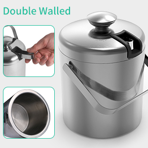 Party Ice Bucket Tencoz 1.3L Wine Cooler Bucket Double Wall Insulated Stainless Steel Ice Cube Container with Lid and Tong