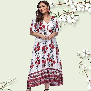 Women Plus Size Dress Short Sleeve High Waist Evening Party Dresses