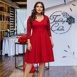 Womens Plus Size Dresses Casual Midi Deep V Cross Neck High Waist A-Line Dress