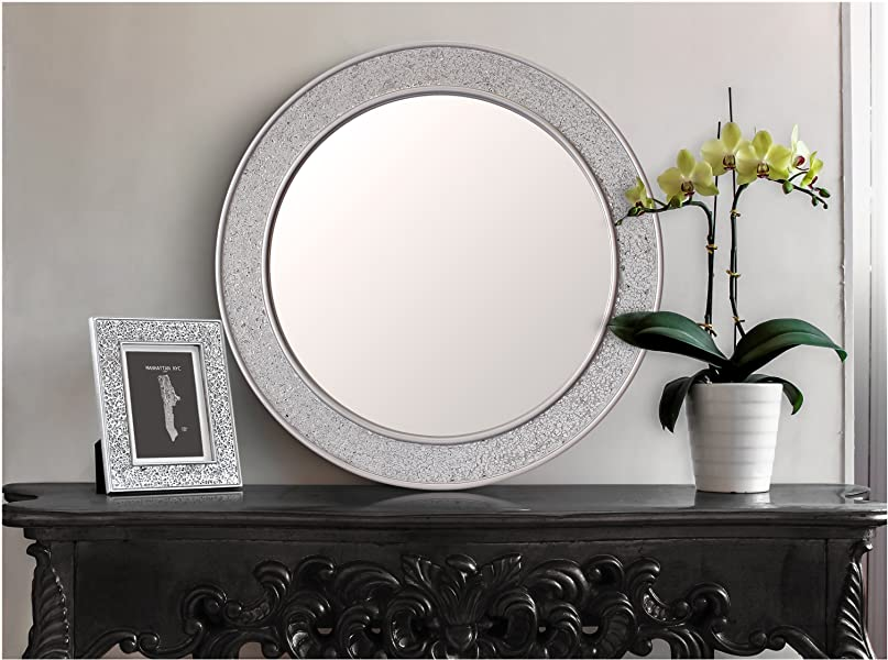 Super Glamour by Casa Chic Round Mosaic Wall Silver Mirror - Large - 60  ET72