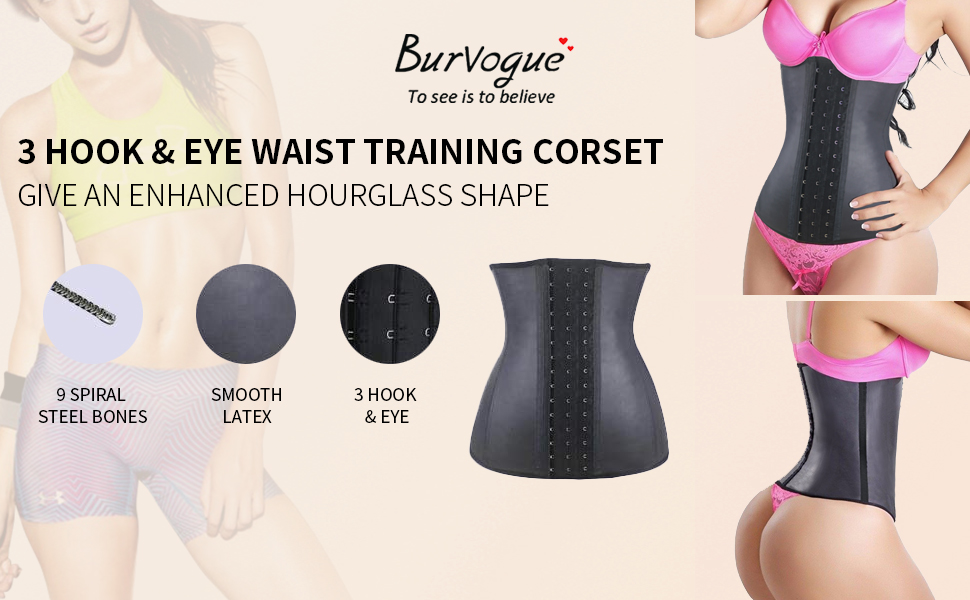 fb87880563 Burvogue Women s Waist Trainer 9-25 Steel Boned Latex Workout Corset ...