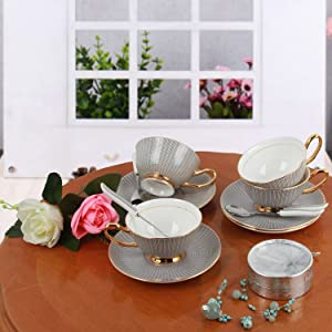 US $19.99 |200 ml luxury marble ceramic coffee Cups and Saucers set with gold stand Home Decoration and Coffee Gift Set|Coffee Cup & Saucer Sets|