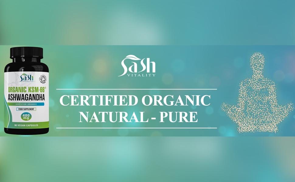 Organic Ashwagandha Vegan High Strength Capsules 400mg   ashwanghanda  KSM-66 Certified Organic by Soil Association   Ayurvedic Withania Somnifera