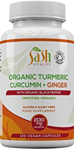 Organic Turmeric ginger black pepper high strength joint back pain relief inflammation