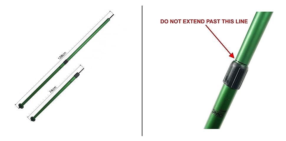 Large 74-128cm Basha Pole Lomo Extendable Twist Lock Bivi