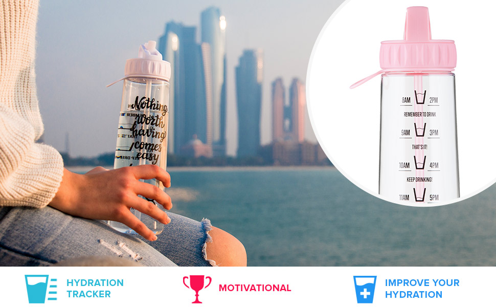 HYDRATEM8 Pink 900ml Hydration Tracker Water Bottle With Motivational Quote  'Drink More Water', BPA Free