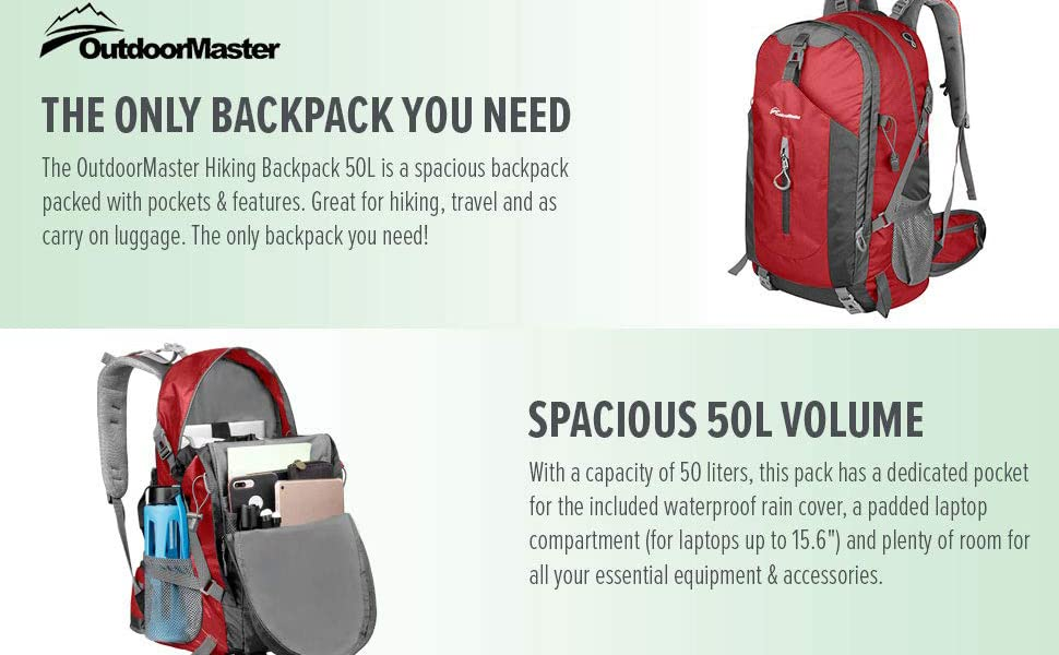 310c0841c511 OutdoorMaster Hiking Backpack 50L - Hiking   Travel Backpack w ...