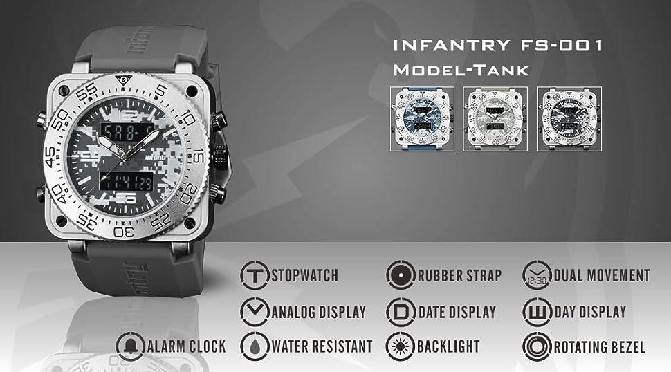 Infantry Mens Analogue - Digital Wrist Watch ACU Camo