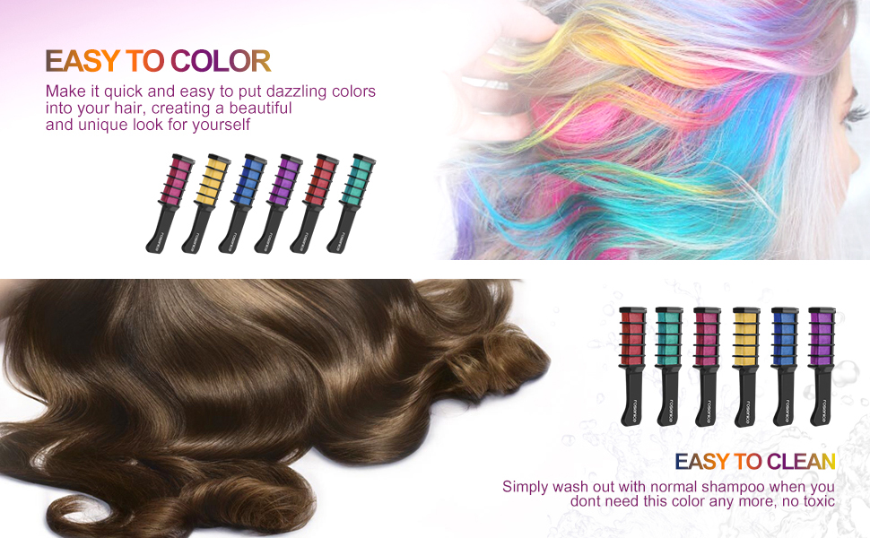 Hair chalk comb shimmer temporary hair color cream 6pcs amazon beautiful natural chalk combs in 6 colors solutioingenieria Choice Image