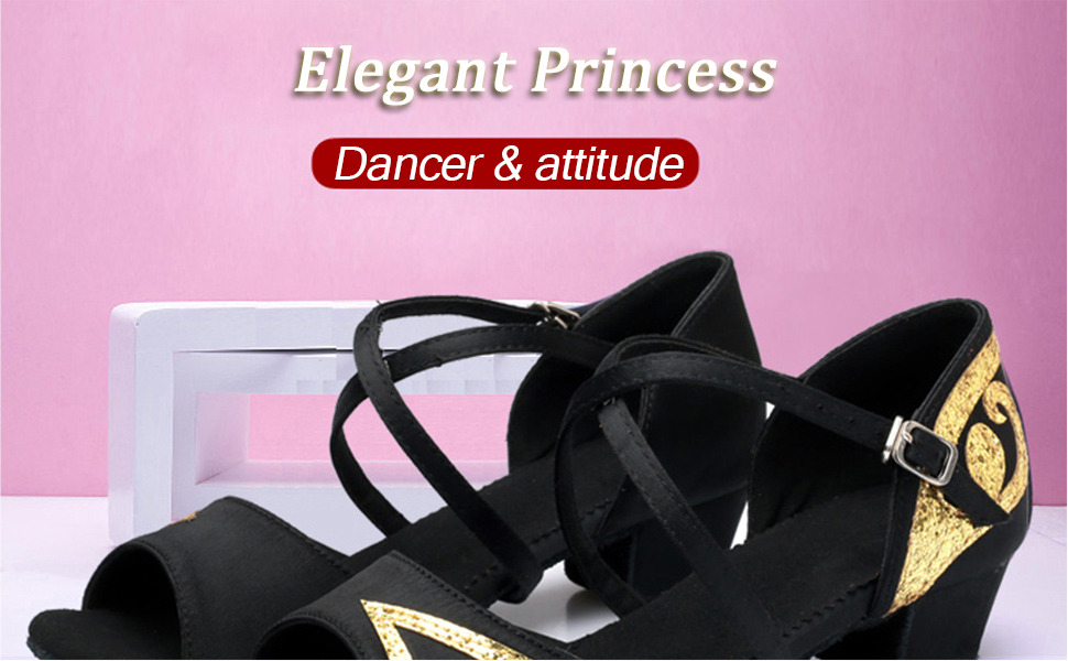 APTRO Girls Ballroom Latin Dance Shoes Bowknot Sequins Rose Red 8.5 UK Child 26
